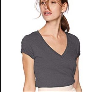 New J. Crew vintage v neck tee in charcoal XXS